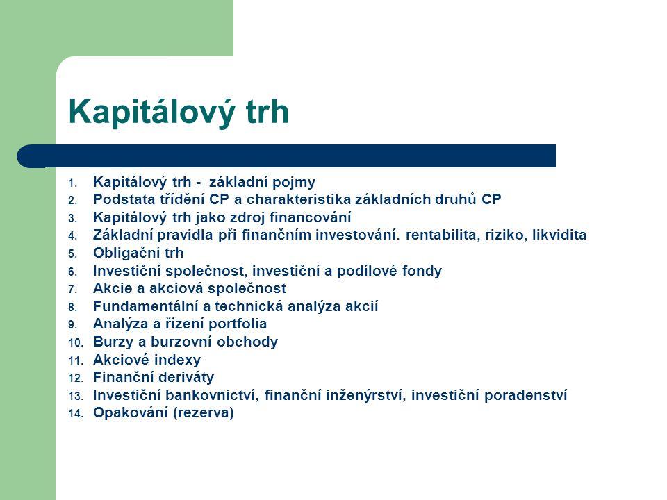 Kapitálový trh 1. Kapitálový trh - základní pojmy 2. Podstata třídění CP a charakteristika základních druhů CP 3. Kapitálový trh jako zdroj financován