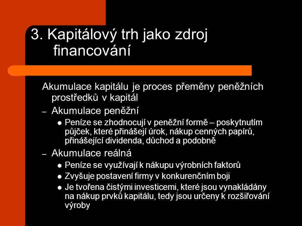 3. Kapitálový trh jako zdroj financování Akumulace kapitálu je proces přeměny peněžních prostředků v kapitál – Akumulace peněžní Peníze se zhodnocují