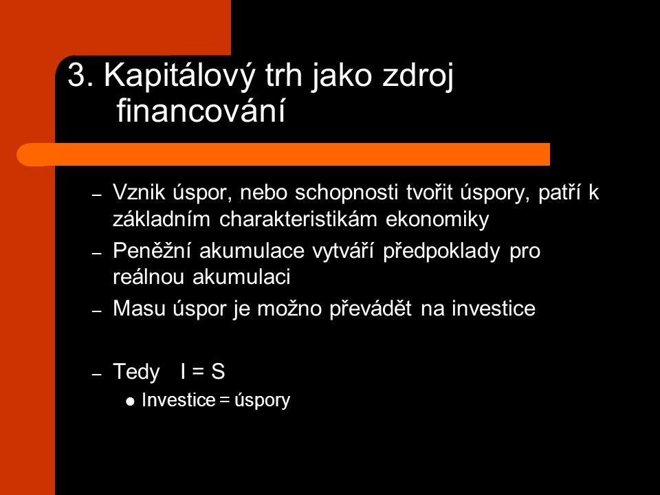3. Kapitálový trh jako zdroj financování – Vznik úspor, nebo schopnosti tvořit úspory, patří k základním charakteristikám ekonomiky – Peněžní akumulac