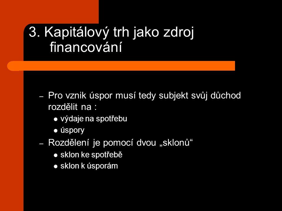 3. Kapitálový trh jako zdroj financování – Pro vznik úspor musí tedy subjekt svůj důchod rozdělit na : výdaje na spotřebu úspory – Rozdělení je pomocí