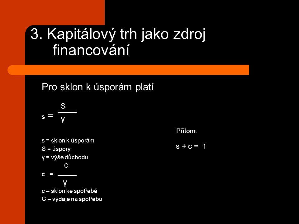 3. Kapitálový trh jako zdroj financování Pro sklon k úsporám platí s = Přitom: s = sklon k úsporám S = úspory γ = výše důchodu C c = c – sklon ke spot