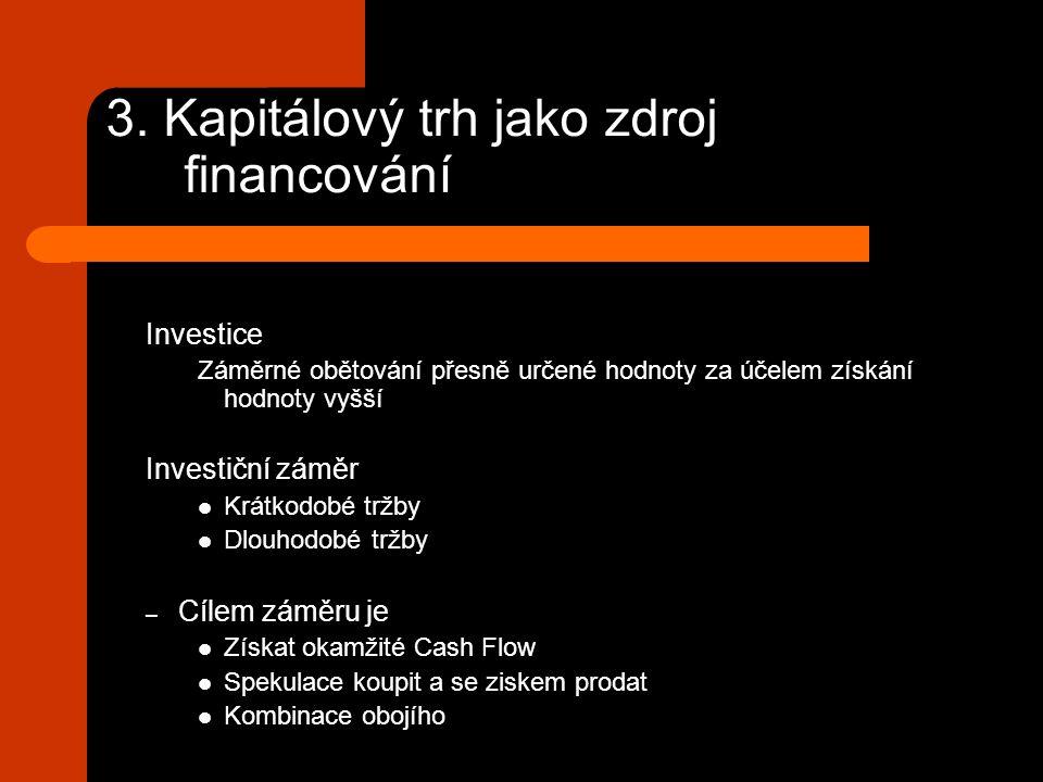 3. Kapitálový trh jako zdroj financování Investice Záměrné obětování přesně určené hodnoty za účelem získání hodnoty vyšší Investiční záměr Krátkodobé