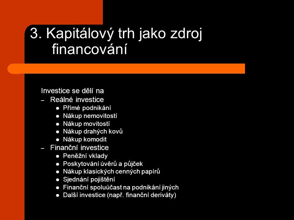 3. Kapitálový trh jako zdroj financování Investice se dělí na – Reálné investice Přímé podnikání Nákup nemovitostí Nákup movitostí Nákup drahých kovů
