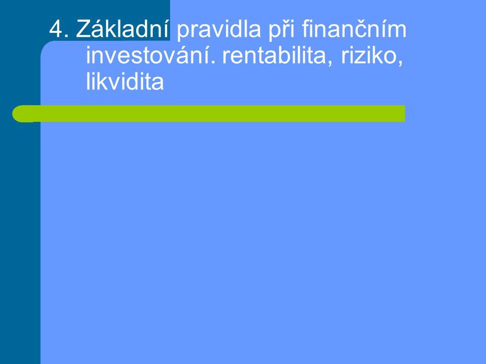 4. Základní pravidla při finančním investování. rentabilita, riziko, likvidita