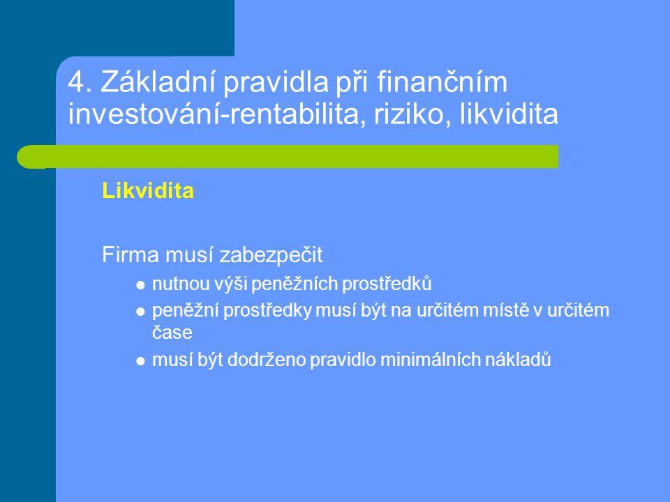 4. Základní pravidla při finančním investování-rentabilita, riziko, likvidita Likvidita Firma musí zabezpečit nutnou výši peněžních prostředků peněžní