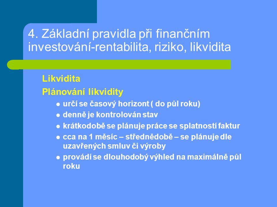 4. Základní pravidla při finančním investování-rentabilita, riziko, likvidita Likvidita Plánování likvidity určí se časový horizont ( do půl roku) den