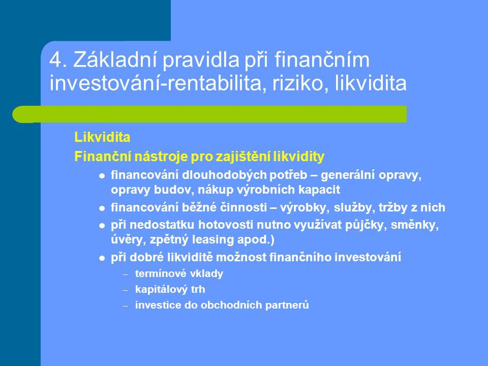 4. Základní pravidla při finančním investování-rentabilita, riziko, likvidita Likvidita Finanční nástroje pro zajištění likvidity financování dlouhodo