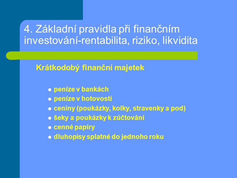 4. Základní pravidla při finančním investování-rentabilita, riziko, likvidita Krátkodobý finanční majetek peníze v bankách peníze v hotovosti ceniny (