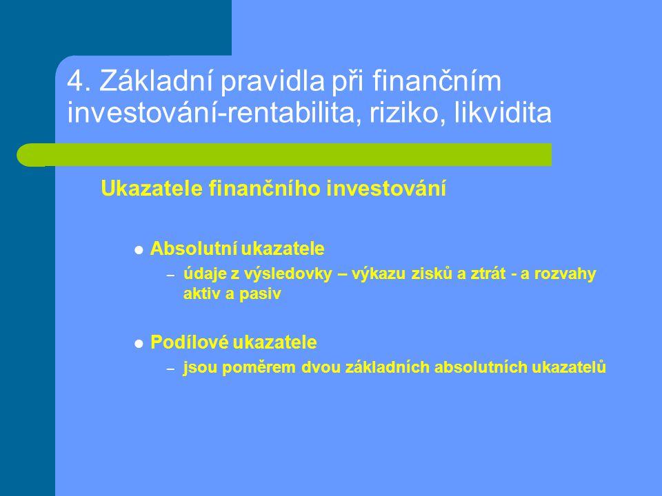 4. Základní pravidla při finančním investování-rentabilita, riziko, likvidita Ukazatele finančního investování Absolutní ukazatele – údaje z výsledovk