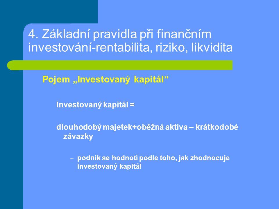"""4. Základní pravidla při finančním investování-rentabilita, riziko, likvidita Pojem """"Investovaný kapitál"""" Investovaný kapitál = dlouhodobý majetek+obě"""