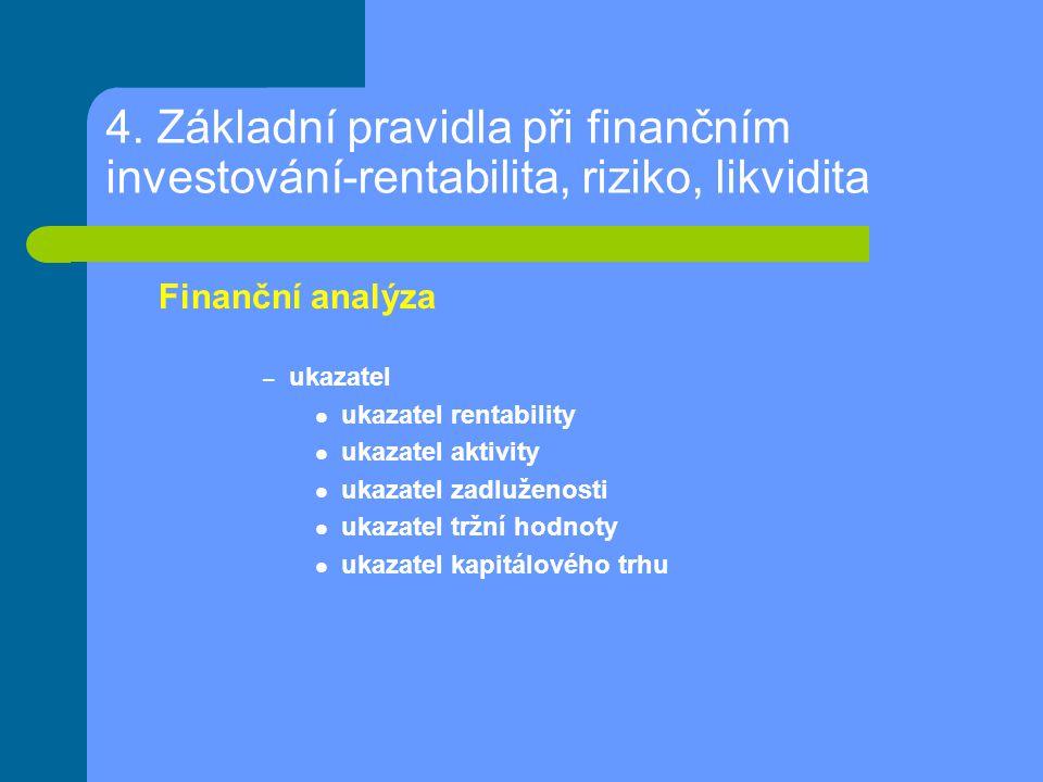 4. Základní pravidla při finančním investování-rentabilita, riziko, likvidita Finanční analýza – ukazatel ukazatel rentability ukazatel aktivity ukaza