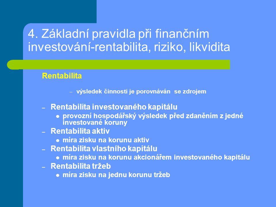 4. Základní pravidla při finančním investování-rentabilita, riziko, likvidita Rentabilita – výsledek činnosti je porovnáván se zdrojem – Rentabilita i