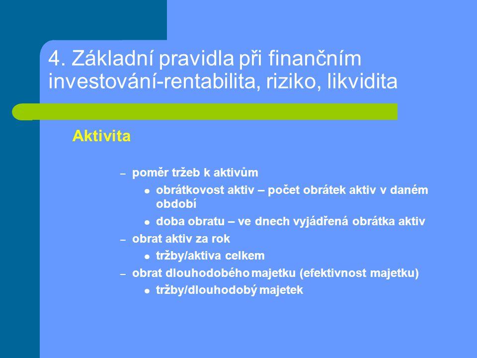4. Základní pravidla při finančním investování-rentabilita, riziko, likvidita Aktivita – poměr tržeb k aktivům obrátkovost aktiv – počet obrátek aktiv