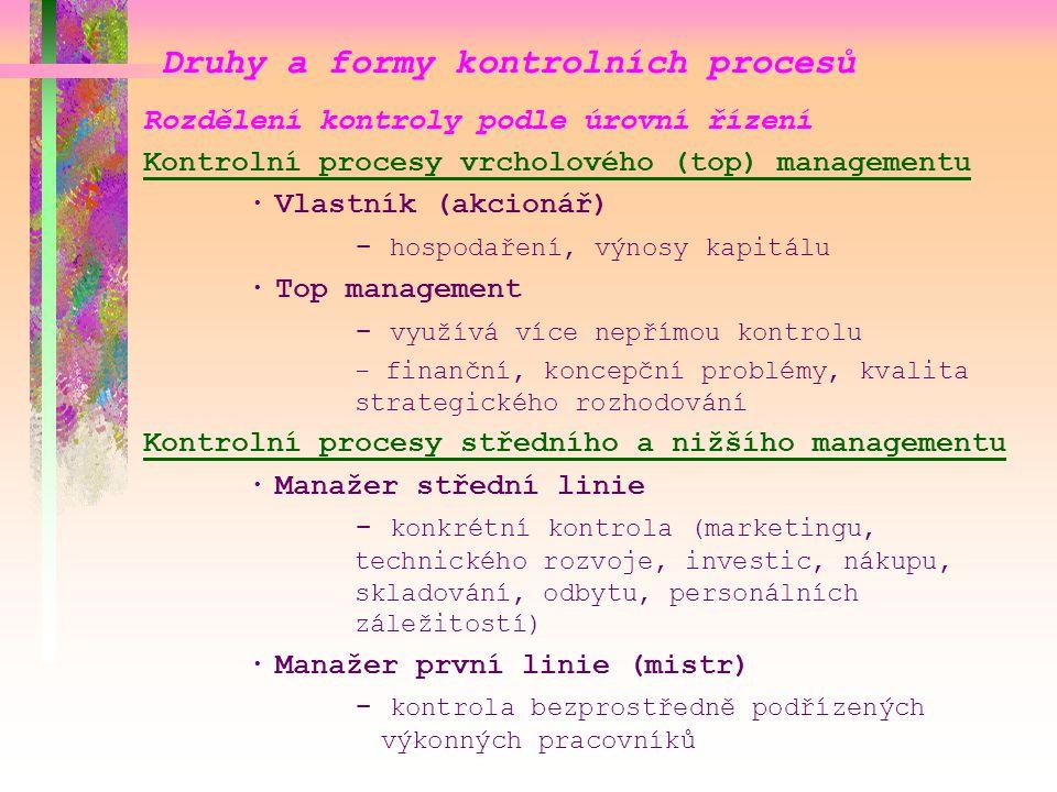 Druhy a formy kontrolních procesů Rozdělení kontroly podle úrovní řízení Kontrolní procesy vrcholového (top) managementu ·Vlastník (akcionář) - hospod