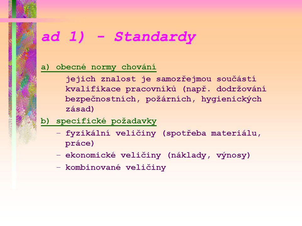 ad 1) - Standardy a) obecné normy chování jejich znalost je samozřejmou součástí kvalifikace pracovníků (např. dodržování bezpečnostních, požárních, h