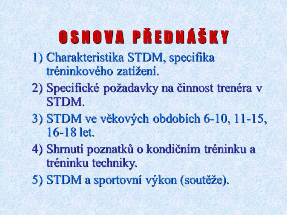 O S N O V A P Ř E D N Á Š K Y 1)Charakteristika STDM, specifika tréninkového zatížení. 2)Specifické požadavky na činnost trenéra v STDM. 3)STDM ve věk