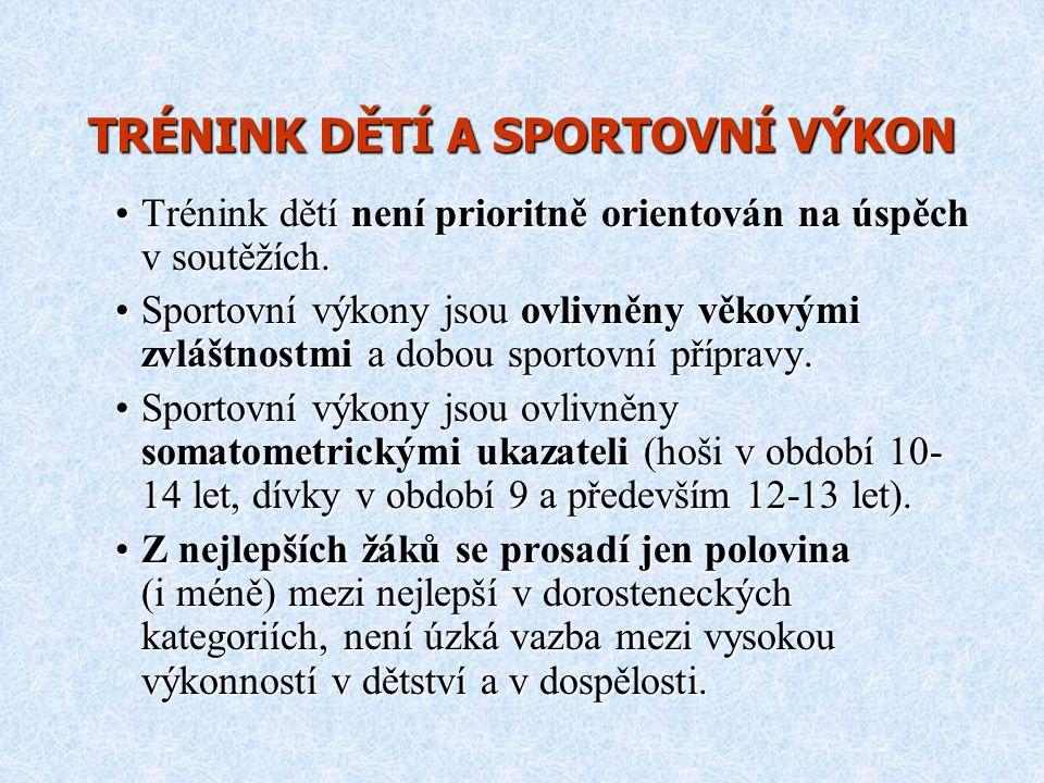 TRÉNINK DĚTÍ A SPORTOVNÍ VÝKON Trénink dětí není prioritně orientován na úspěch v soutěžích.Trénink dětí není prioritně orientován na úspěch v soutěží