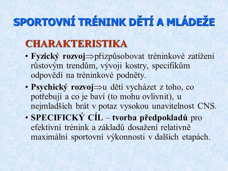 KONDIČNÍ TRÉNINK ( KONDIČNÍ TRÉNINK (6-10 let) SÍLA Není závislost mezi sportovním výkonem v dospělosti a silovým tréninkem.