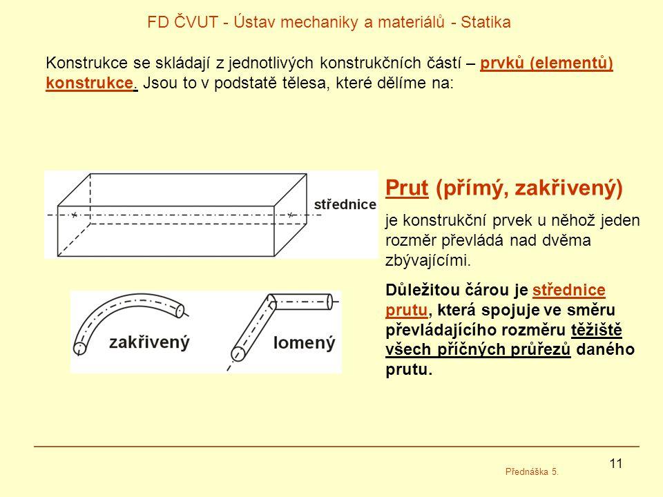 11 FD ČVUT - Ústav mechaniky a materiálů - Statika Přednáška 5. Konstrukce se skládají z jednotlivých konstrukčních částí – prvků (elementů) konstrukc