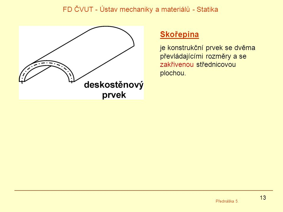 13 FD ČVUT - Ústav mechaniky a materiálů - Statika Přednáška 5. Skořepina je konstrukční prvek se dvěma převládajícími rozměry a se zakřivenou středni