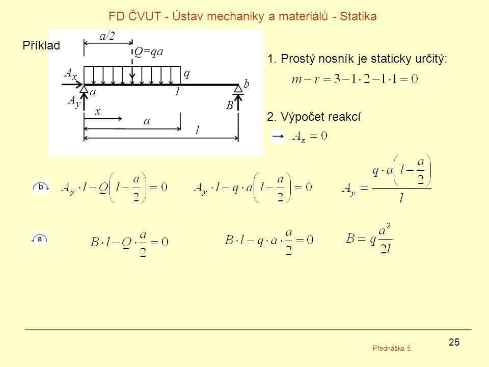 25 FD ČVUT - Ústav mechaniky a materiálů - Statika Přednáška 5. 1. Prostý nosník je staticky určitý: 2. Výpočet reakcí l a x a/2 Q=qa AxAx AyAy B q a