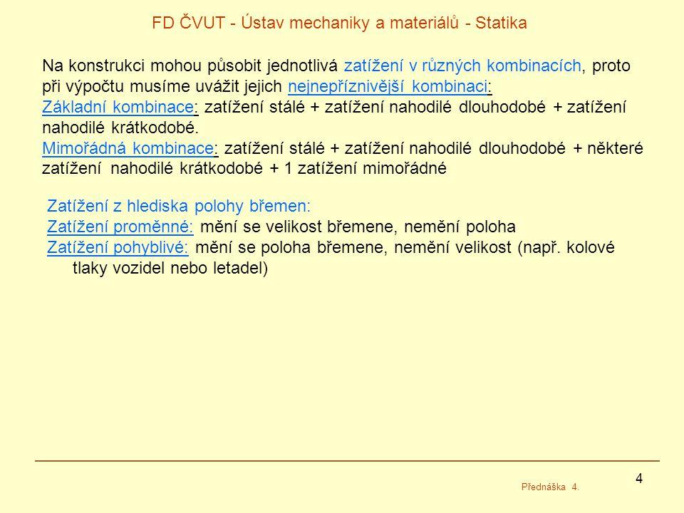 4 FD ČVUT - Ústav mechaniky a materiálů - Statika Přednáška 4. Na konstrukci mohou působit jednotlivá zatížení v různých kombinacích, proto při výpočt
