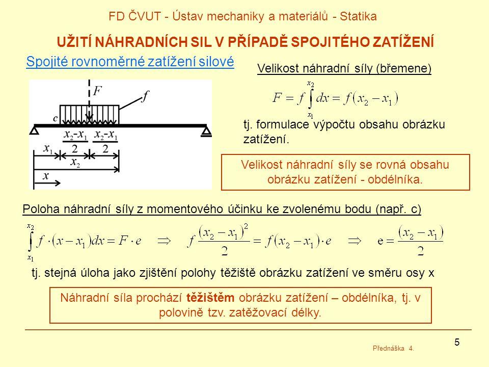 5 FD ČVUT - Ústav mechaniky a materiálů - Statika Přednáška 4. UŽITÍ NÁHRADNÍCH SIL V PŘÍPADĚ SPOJITÉHO ZATÍŽENÍ Spojité rovnoměrné zatížení silové Ve