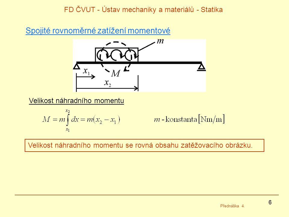 6 FD ČVUT - Ústav mechaniky a materiálů - Statika Přednáška 4. Spojité rovnoměrné zatížení momentové Velikost náhradního momentu Velikost náhradního m