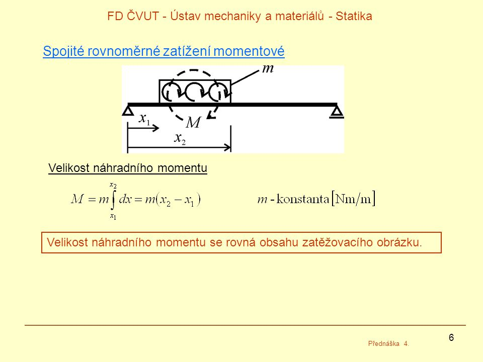 7 FD ČVUT - Ústav mechaniky a materiálů - Statika Přednáška 4.