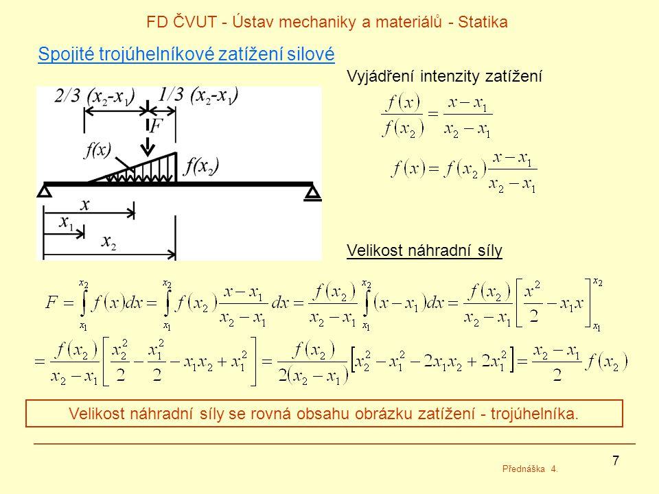 7 FD ČVUT - Ústav mechaniky a materiálů - Statika Přednáška 4. Spojité trojúhelníkové zatížení silové Vyjádření intenzity zatížení Velikost náhradní s