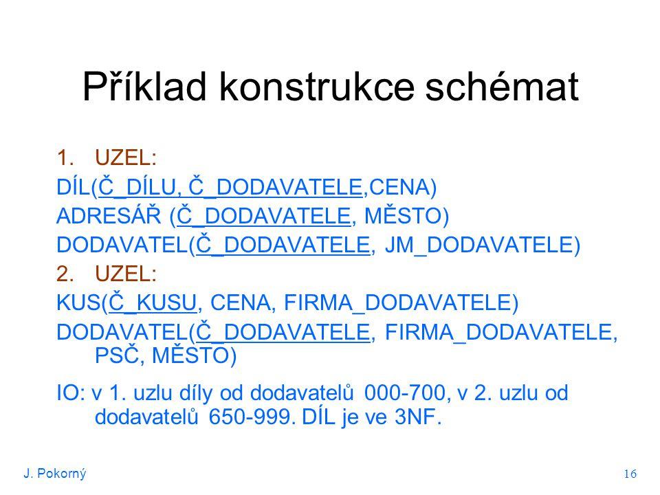 J.Pokorný 16 Příklad konstrukce schémat 1.