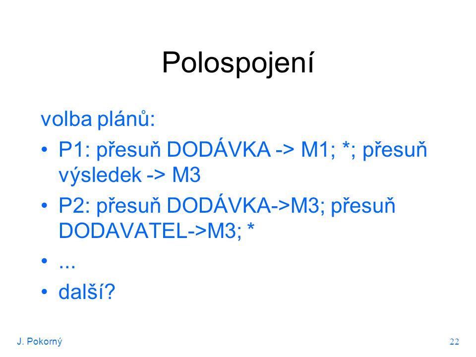 J. Pokorný 22 Polospojení volba plánů: P1: přesuň DODÁVKA -> M1; *; přesuň výsledek -> M3 P2: přesuň DODÁVKA->M3; přesuň DODAVATEL->M3; *... další?