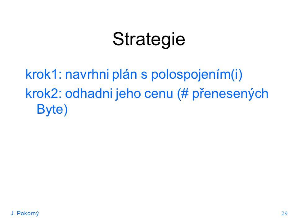 J. Pokorný 29 Strategie krok1: navrhni plán s polospojením(i) krok2: odhadni jeho cenu (# přenesených Byte)