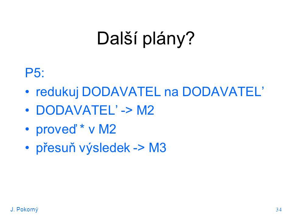 J. Pokorný 34 Další plány? P5: redukuj DODAVATEL na DODAVATEL' DODAVATEL' -> M2 proveď * v M2 přesuň výsledek -> M3