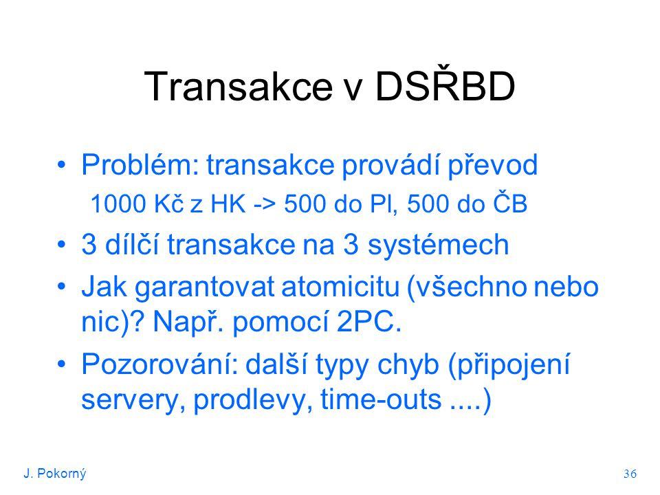 J. Pokorný 36 Transakce v DSŘBD Problém: transakce provádí převod 1000 Kč z HK -> 500 do Pl, 500 do ČB 3 dílčí transakce na 3 systémech Jak garantovat