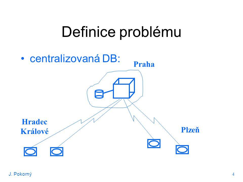 J. Pokorný 4 Definice problému centralizovaná DB: Hradec Králové Plzeň Praha