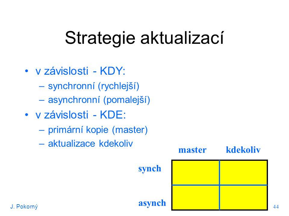 J. Pokorný 44 Strategie aktualizací v závislosti - KDY: –synchronní (rychlejší) –asynchronní (pomalejší) v závislosti - KDE: –primární kopie (master)