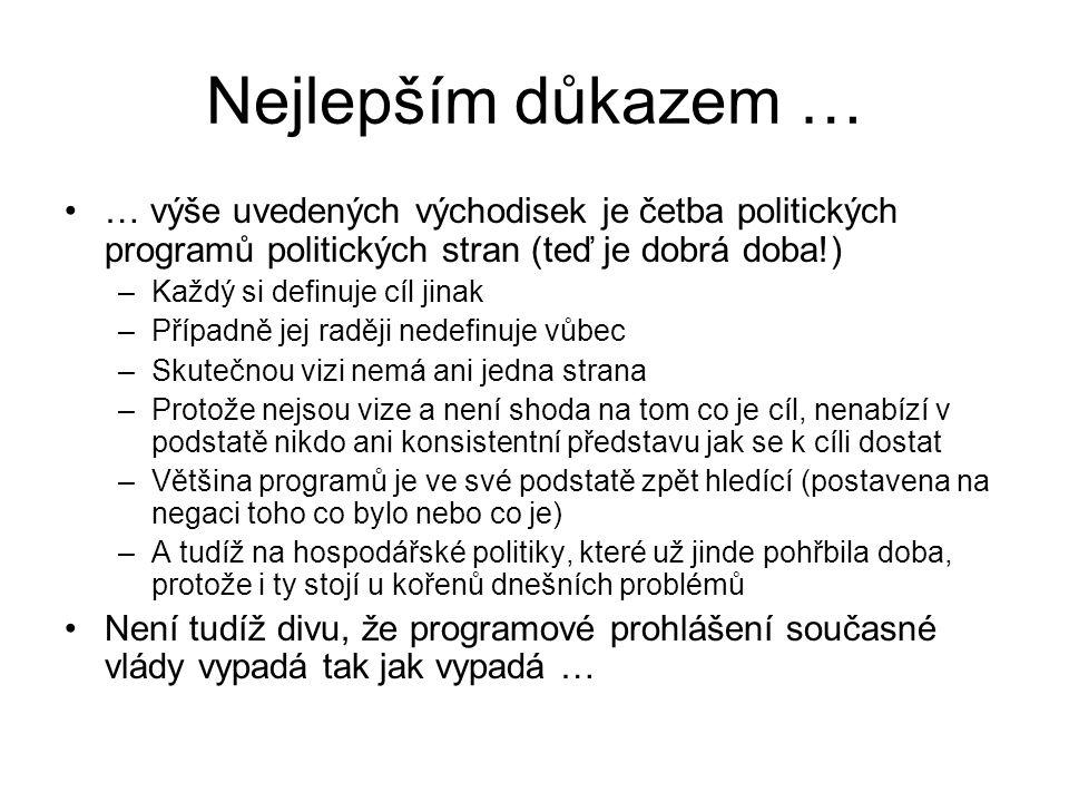 Nejlepším důkazem … … výše uvedených východisek je četba politických programů politických stran (teď je dobrá doba!) –Každý si definuje cíl jinak –Pří