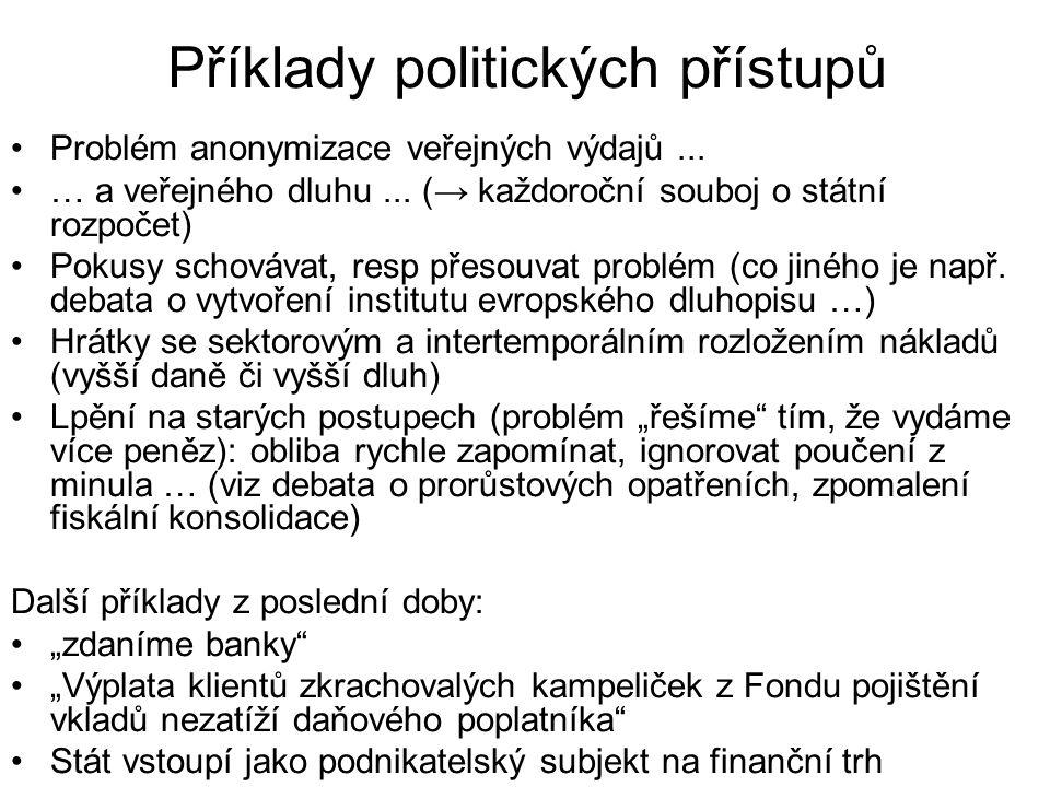 Příklady politických přístupů Problém anonymizace veřejných výdajů... … a veřejného dluhu... (→ každoroční souboj o státní rozpočet) Pokusy schovávat,