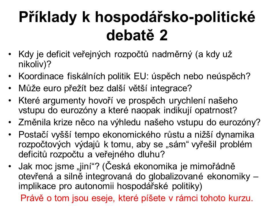 Příklady k hospodářsko-politické debatě 2 Kdy je deficit veřejných rozpočtů nadměrný (a kdy už nikoliv)? Koordinace fiskálních politik EU: úspěch nebo