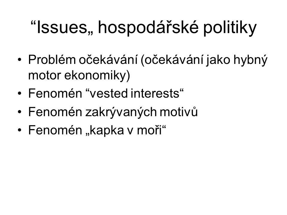"""""""Issues"""" hospodářské politiky Problém očekávání (očekávání jako hybný motor ekonomiky) Fenomén """"vested interests"""" Fenomén zakrývaných motivů Fenomén """""""