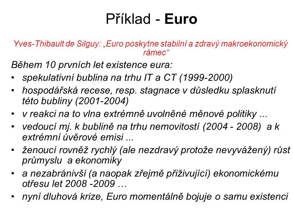 """Příklad - Euro Yves-Thibault de Silguy: """"Euro poskytne stabilní a zdravý makroekonomický rámec"""" Během 10 prvních let existence eura: spekulativní bubl"""