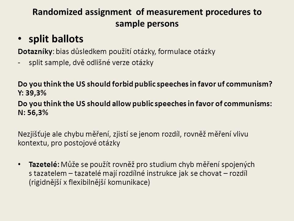 Randomized assignment of measurement procedures to sample persons split ballots Dotazníky: bias důsledkem použití otázky, formulace otázky -split samp