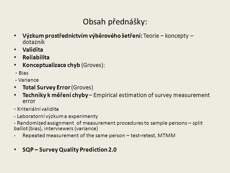 Obsah přednášky: Výzkum prostřednictvím výběrového šetření: Teorie – koncepty – dotazník Validita Reliabilita Konceptualizace chyb (Groves): - Bias -