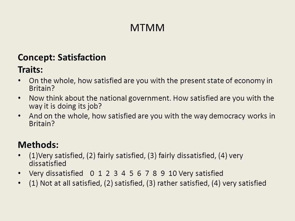 MTMM Concept: Satisfaction Traits: On the whole, how satisfied are you with the present state of economy in Britain.