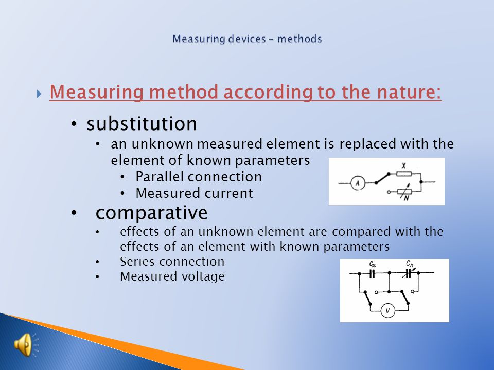  Measuring methods according to function: deviation size of the measured quantity is determined by the size of the deflection of the measurement devices hands zero measured quantity is subject to settlement (electrical balance), such as measuring bridge