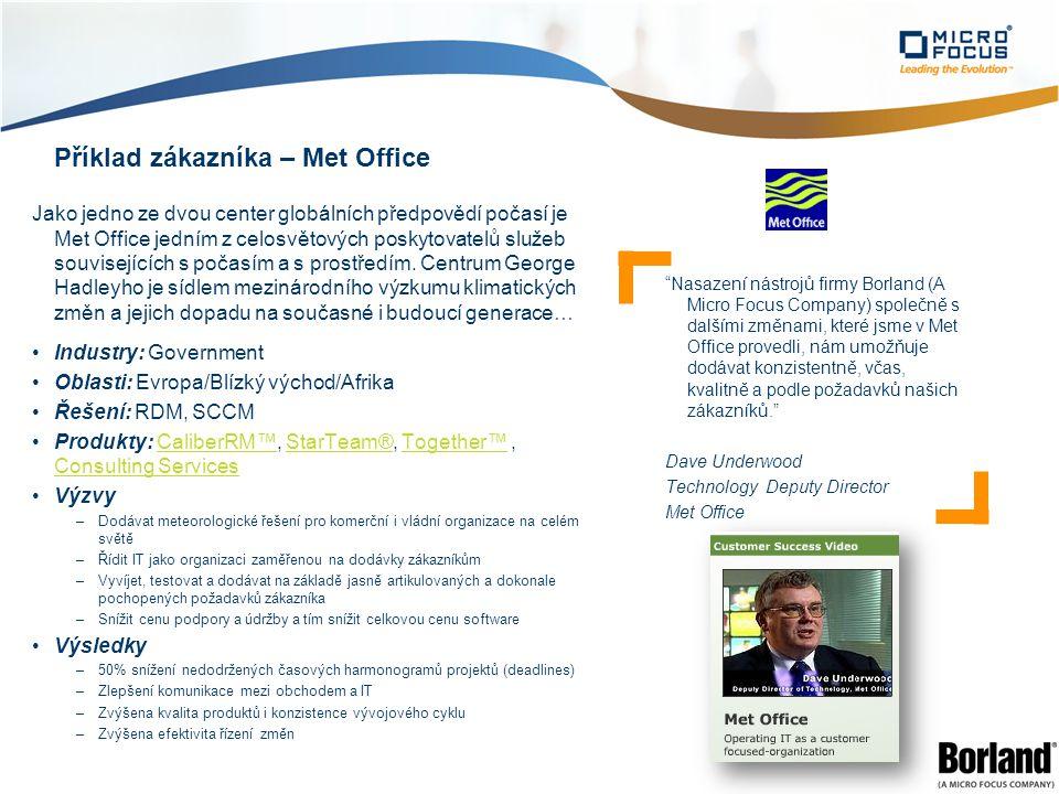 Příklad zákazníka – Met Office Jako jedno ze dvou center globálních předpovědí počasí je Met Office jedním z celosvětových poskytovatelů služeb souvisejících s počasím a s prostředím.