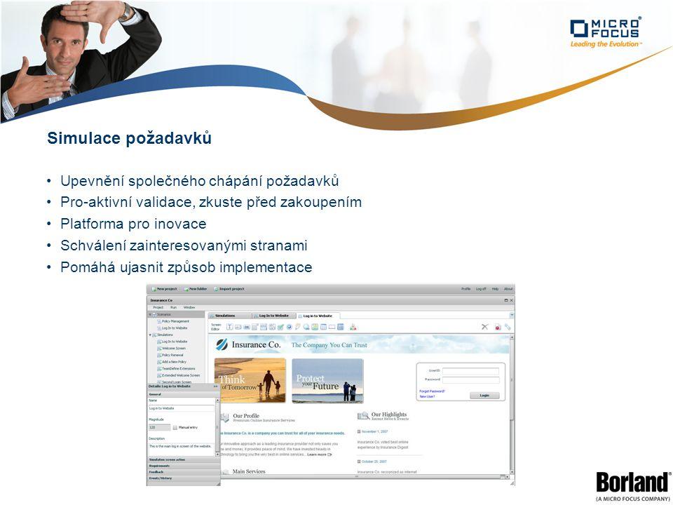 Simulace požadavků Upevnění společného chápání požadavků Pro-aktivní validace, zkuste před zakoupením Platforma pro inovace Schválení zainteresovanými stranami Pomáhá ujasnit způsob implementace