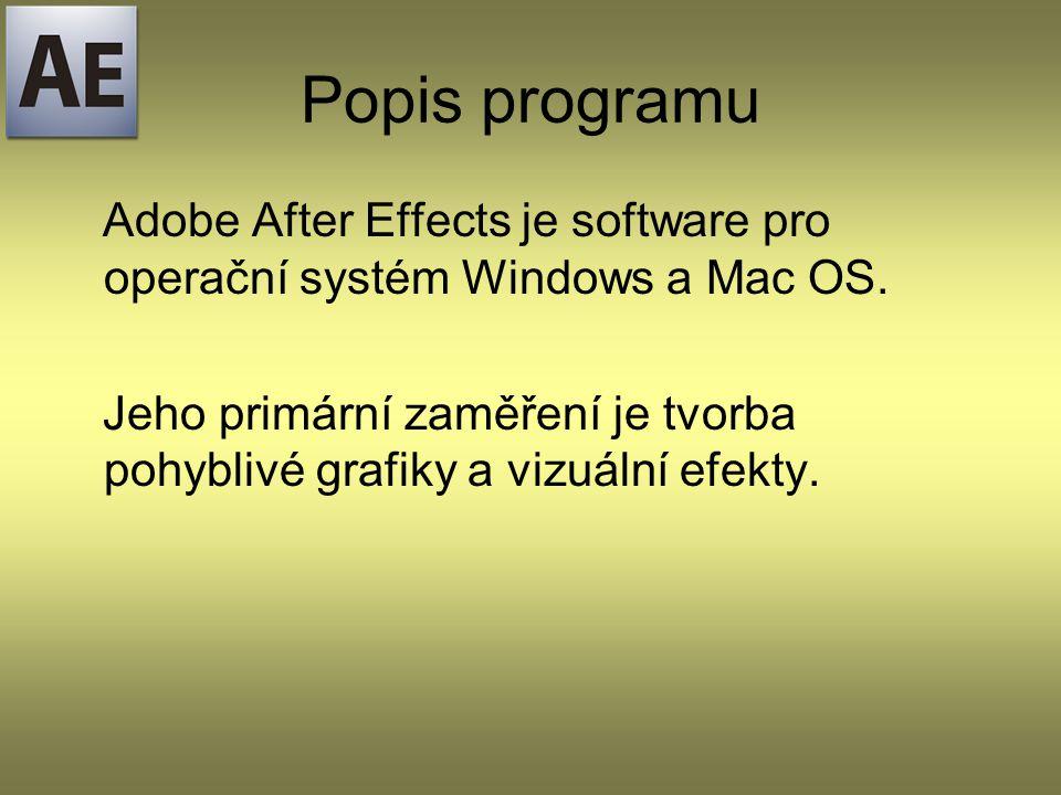 Popis programu Adobe After Effects je software pro operační systém Windows a Mac OS.