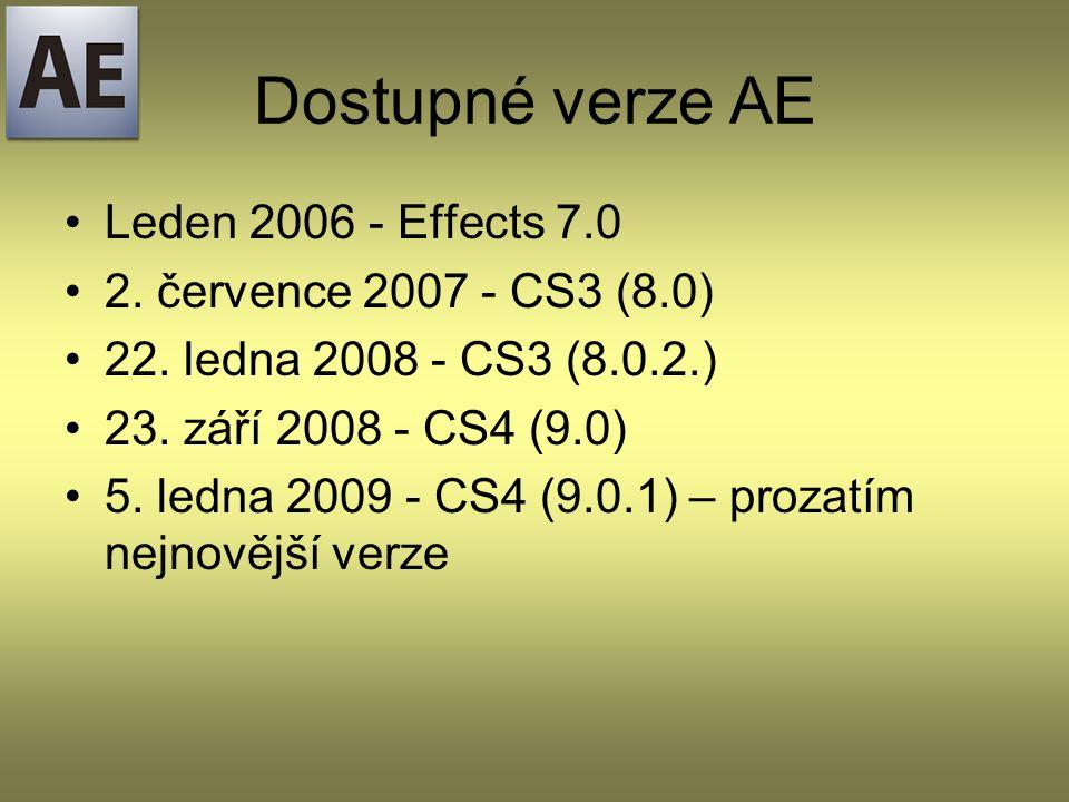 Dostupné verze AE Leden 2006 - Effects 7.0 2. července 2007 - CS3 (8.0) 22.
